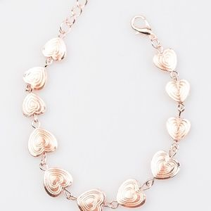 Rose Gold Heart Bracelet W/ 2 Inch Extender Clasp